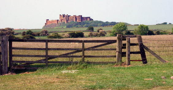 View of Bamburgh Castle from caravan site